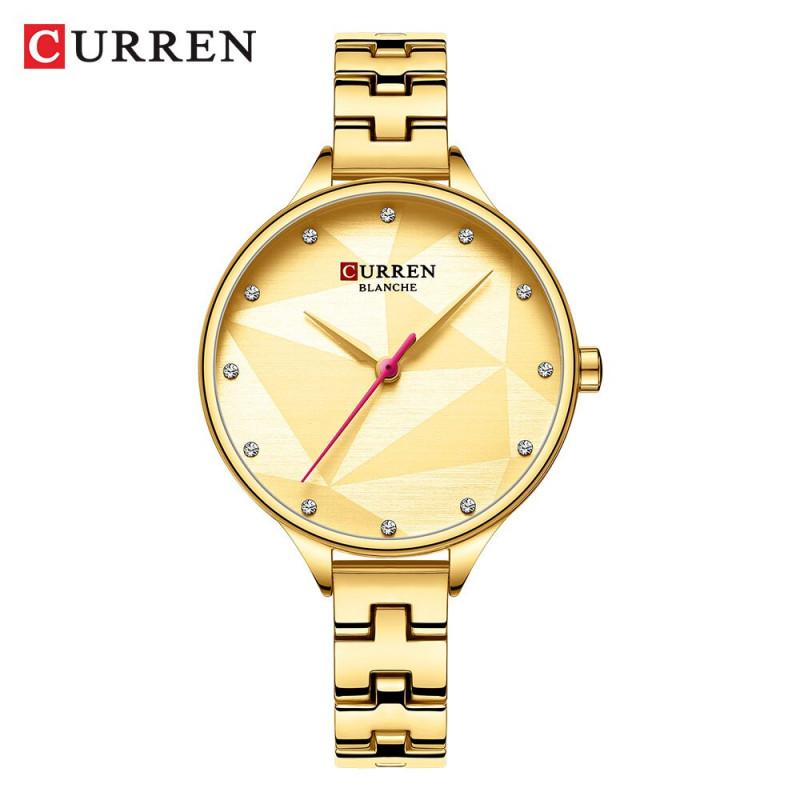 Роскошные Брендовые женские часы CURREN 9047 Gold