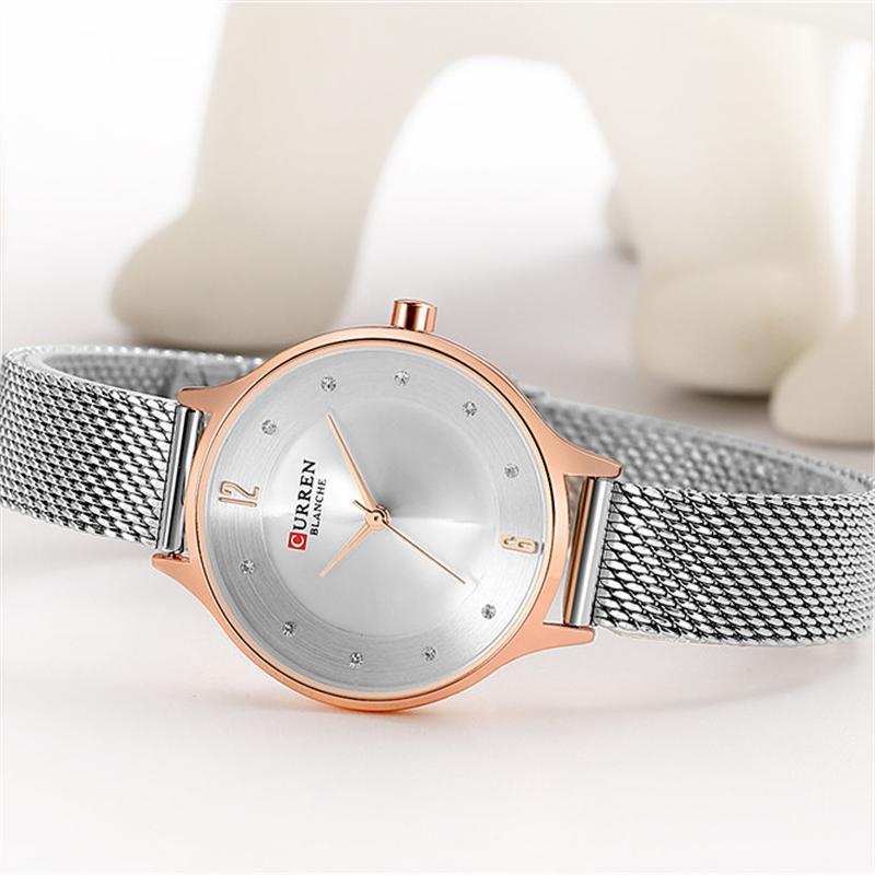 Женские стильные часы Curren 9036 Silver Gold