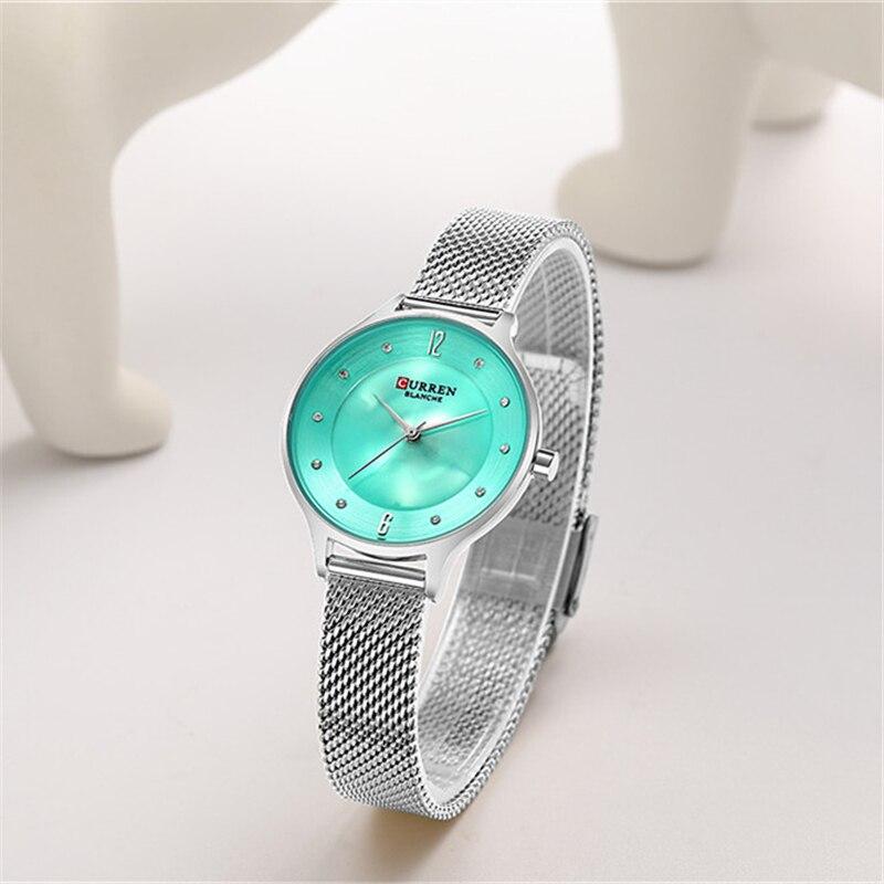 Женские стильные часы Curren 9036 Silver Green