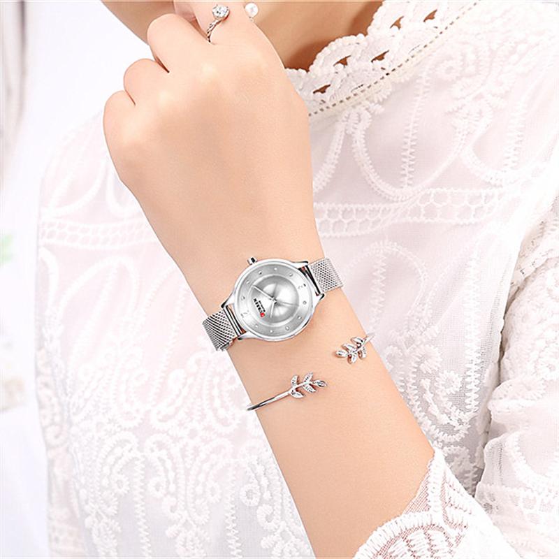 Женские стильные часы Curren 9036 Silver
