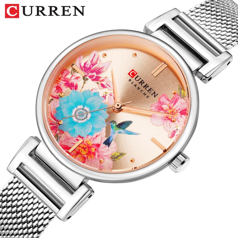 Женские изящные часы Curren 9053 Silver