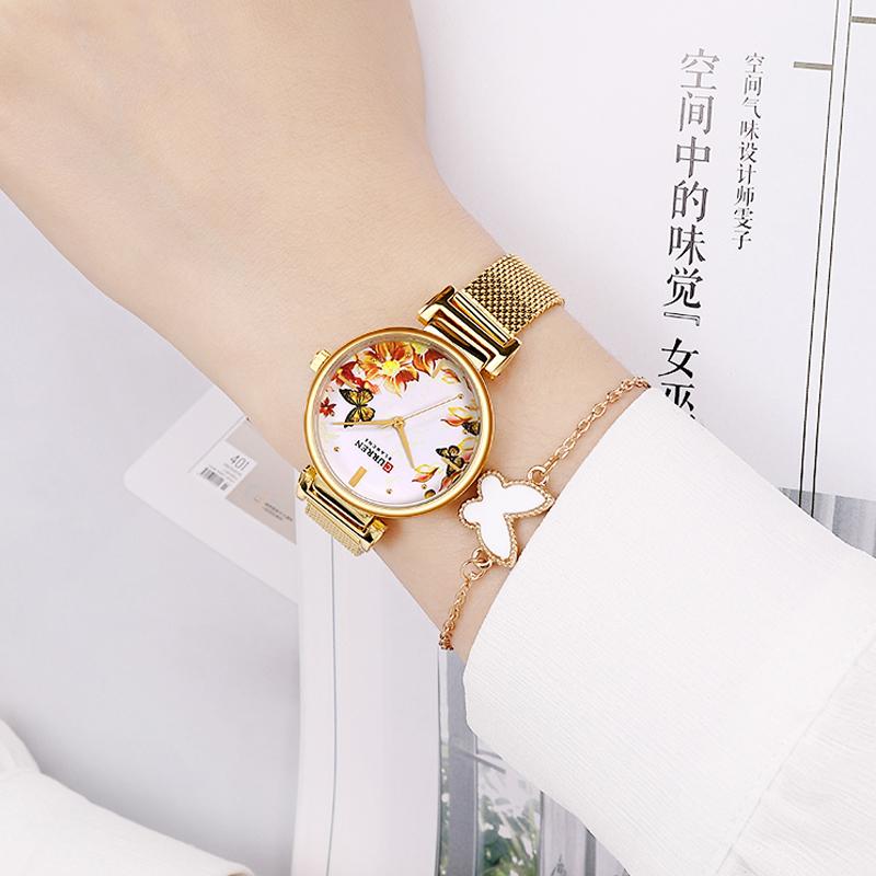 Женские изящные часы Curren 9053 Gold