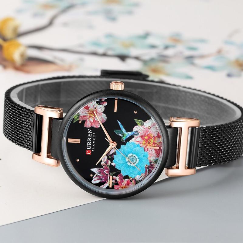 Женские изящные часы Curren 9053 Black