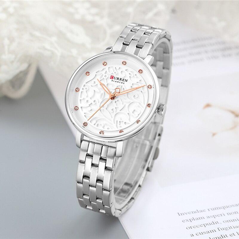 Женские модные часы Curren 9046 Silver