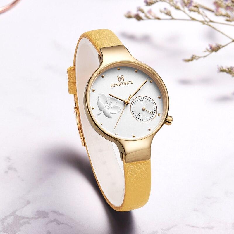 Женские минималистичные часы Naviforce 5001 Yellow GW