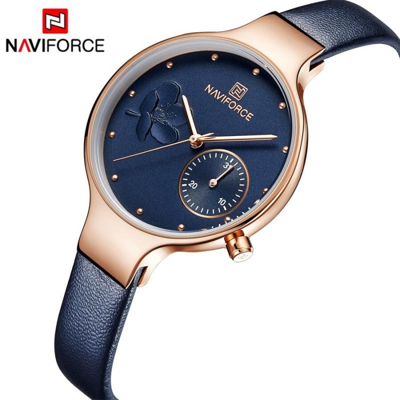 Женские минималистичные часы Naviforce 5001 Rose gold blue