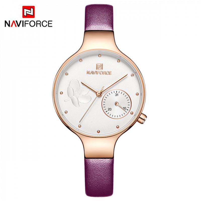 Женские минималистичные часы Naviforce 5001 Rose gold Purple