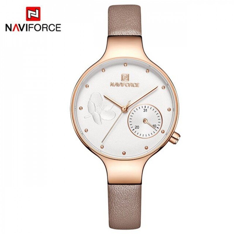 Женские минималистичные часы Naviforce 5001 brown gold white