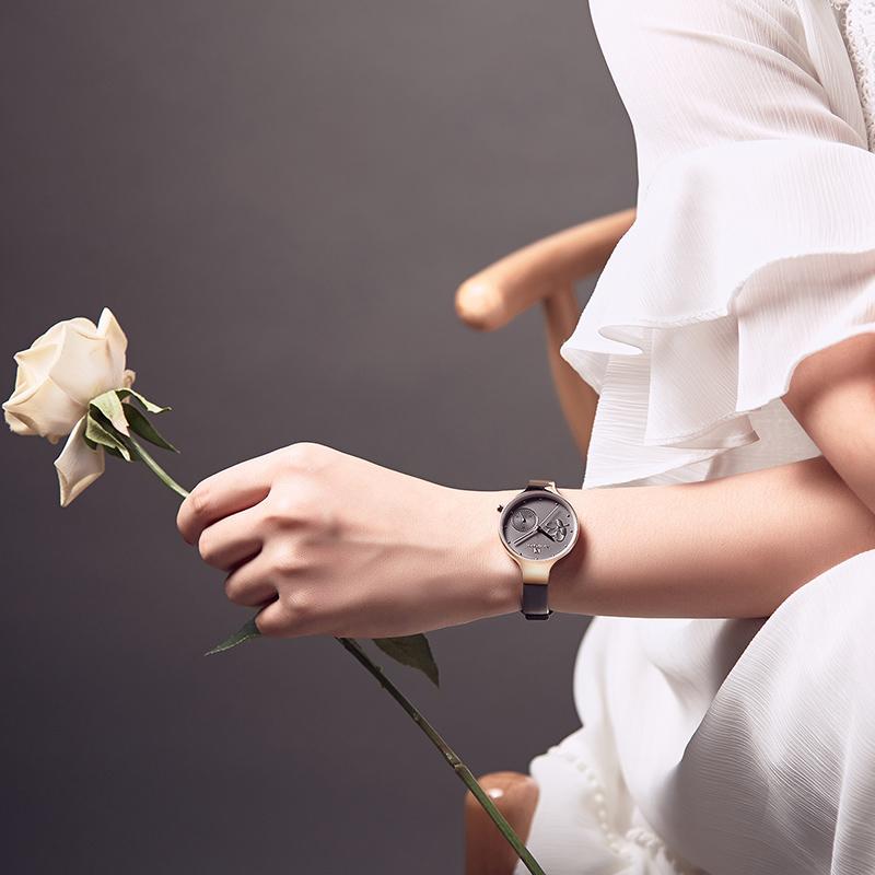 Женские минималистичные часы Naviforce 5001 Rose gold Grey