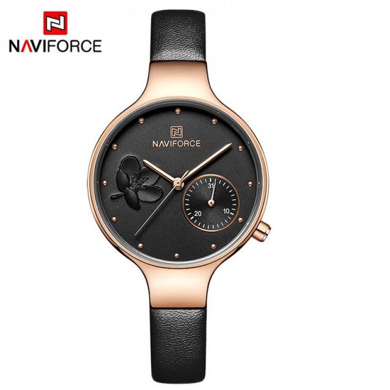 Женские минималистичные часы Naviforce 5001 gold black