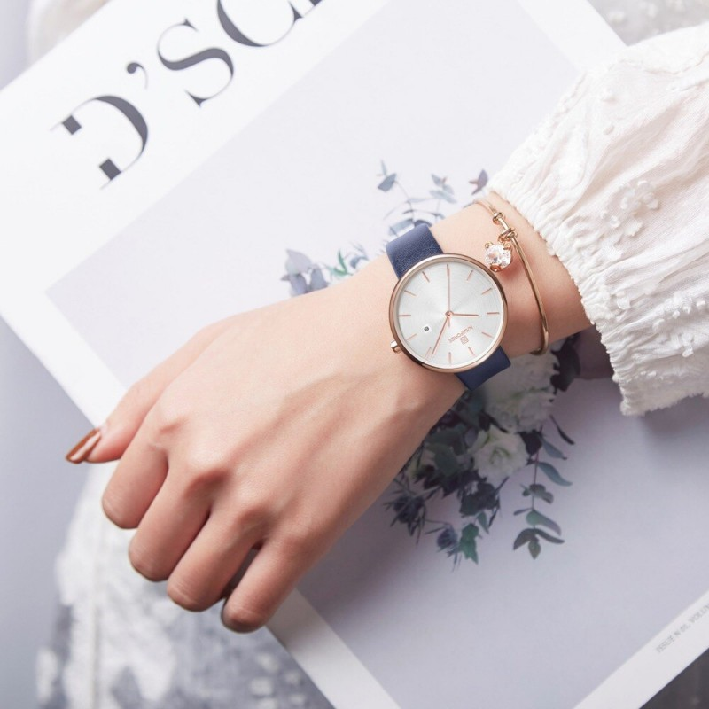 Женские классические часы Naviforce 5002 gold blue