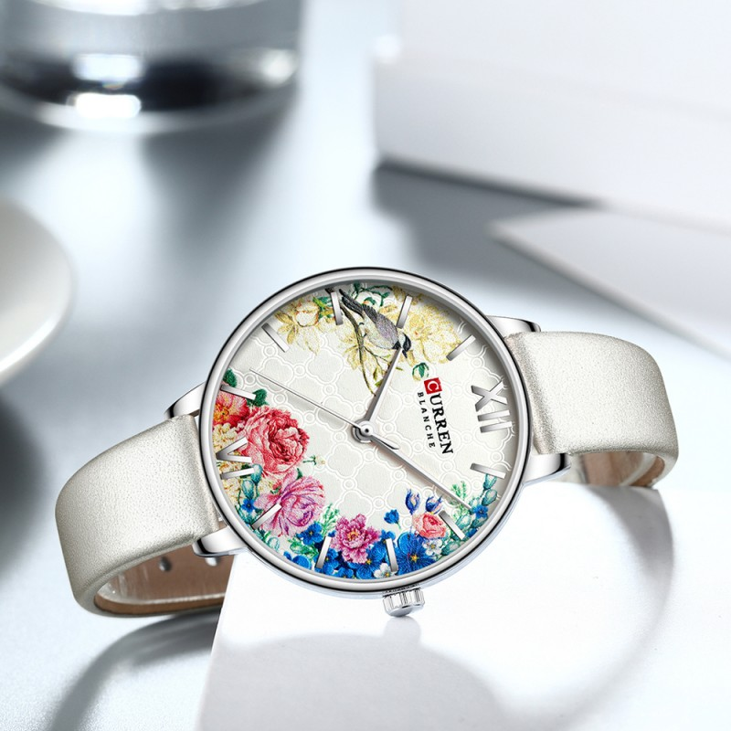 Женские часы Curren 9059 серебристая кожа