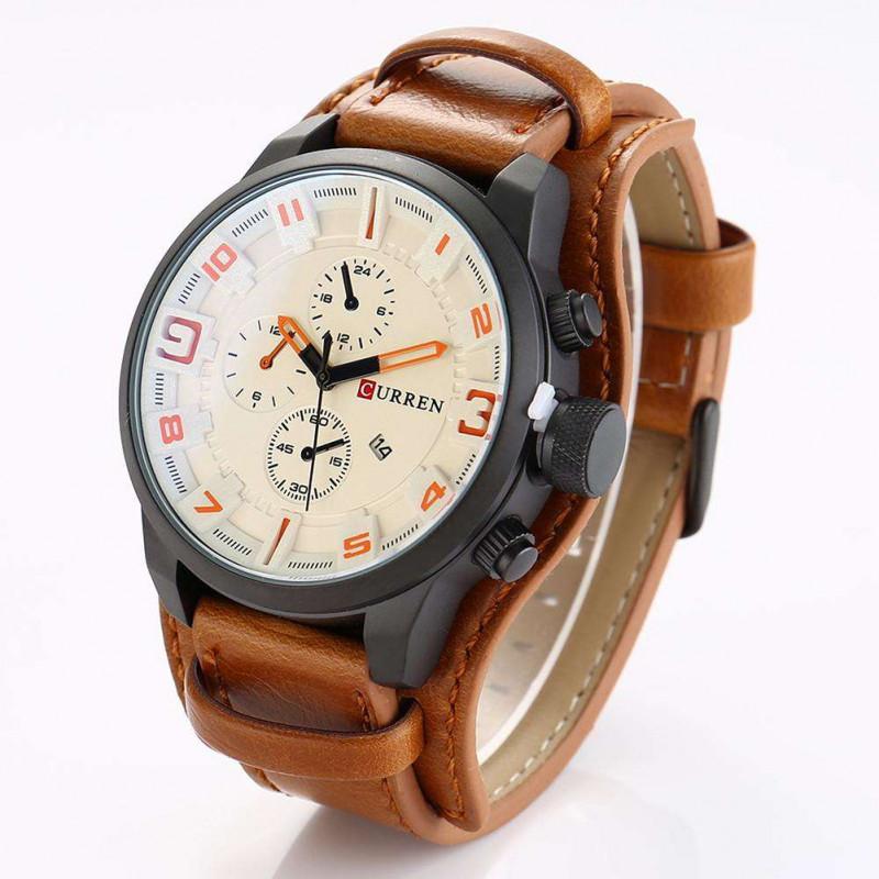 Армейские наручные часы Curren 8225 brown - white