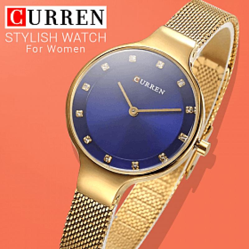 Женские часы Curren 9008 - gold blue
