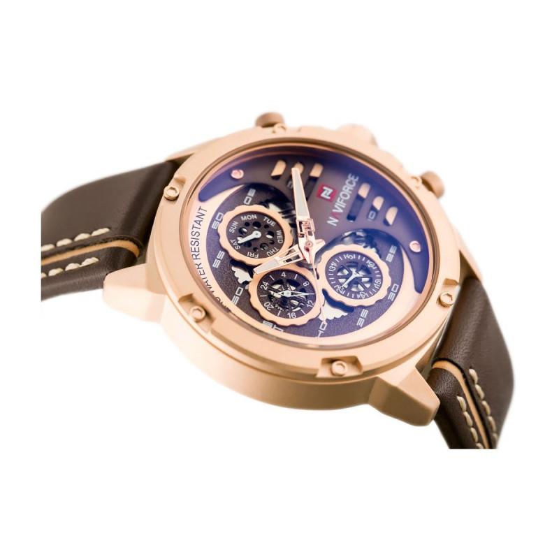 Мужские кварцевые часы NAVIFORCE 9110 Brown Gold
