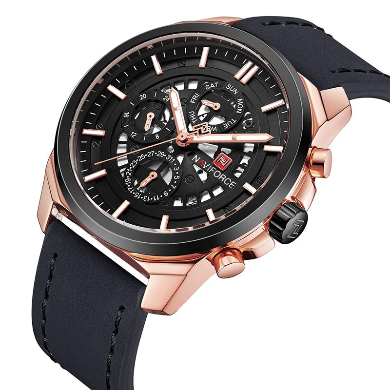 Брутальные мужские часы Naviforce 9129 BGB