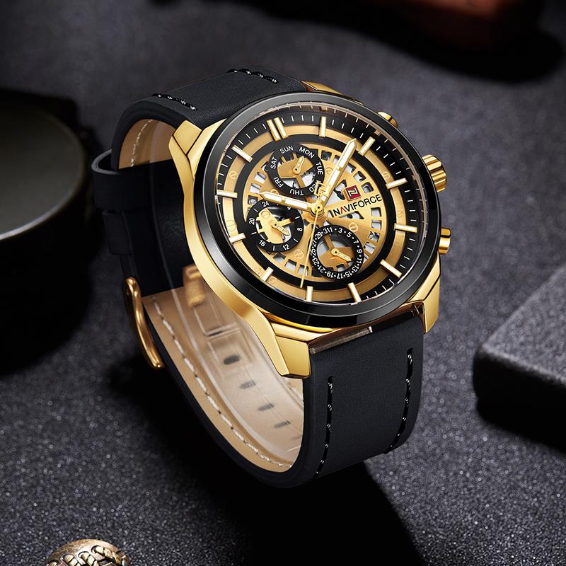 Брутальные мужские часы Naviforce 9129 BLG